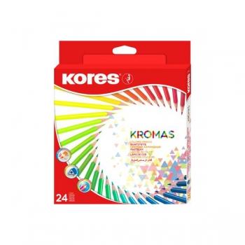 Creioane colorate Kores Kromas, triunghiulare 3 mm, 24 culori/cutie