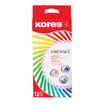Creioane colorate Kores Kromas triunghiulare, 3 mm, 12 culori