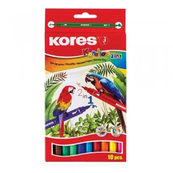 Markere pentru copii Kores KORELLOS, 2 capete, 10 culori pe cutie
