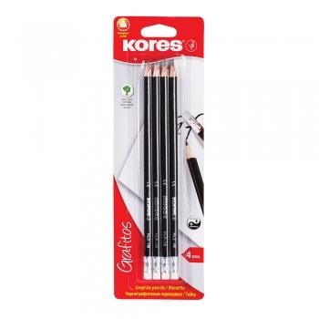 Creioane grafit Kores Grafitos, corp negru triunghiular, HB