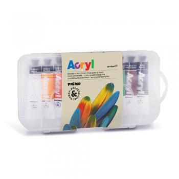Tempera acrilica fina Morocolor Primo, 10 culori/set, 18 ml, in tub de aluminiu