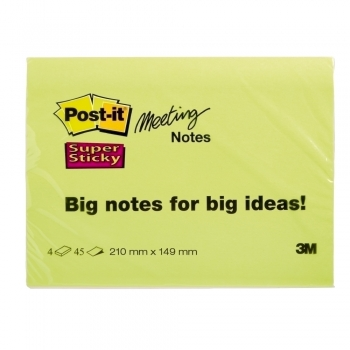 Notite adezive, Post-it, Super Sticky, 210 x 149 mm, neon, 45 file/bucata, 3 bucati/set