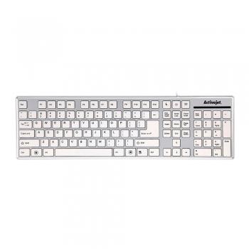 Tastatura Activejet K-3016SS cu fir USB, alba