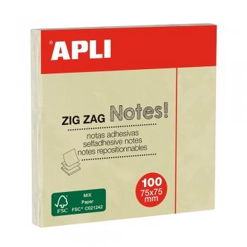 Notite adezive, Apli, 75 x 75 mm, galben, 100 file/bucata