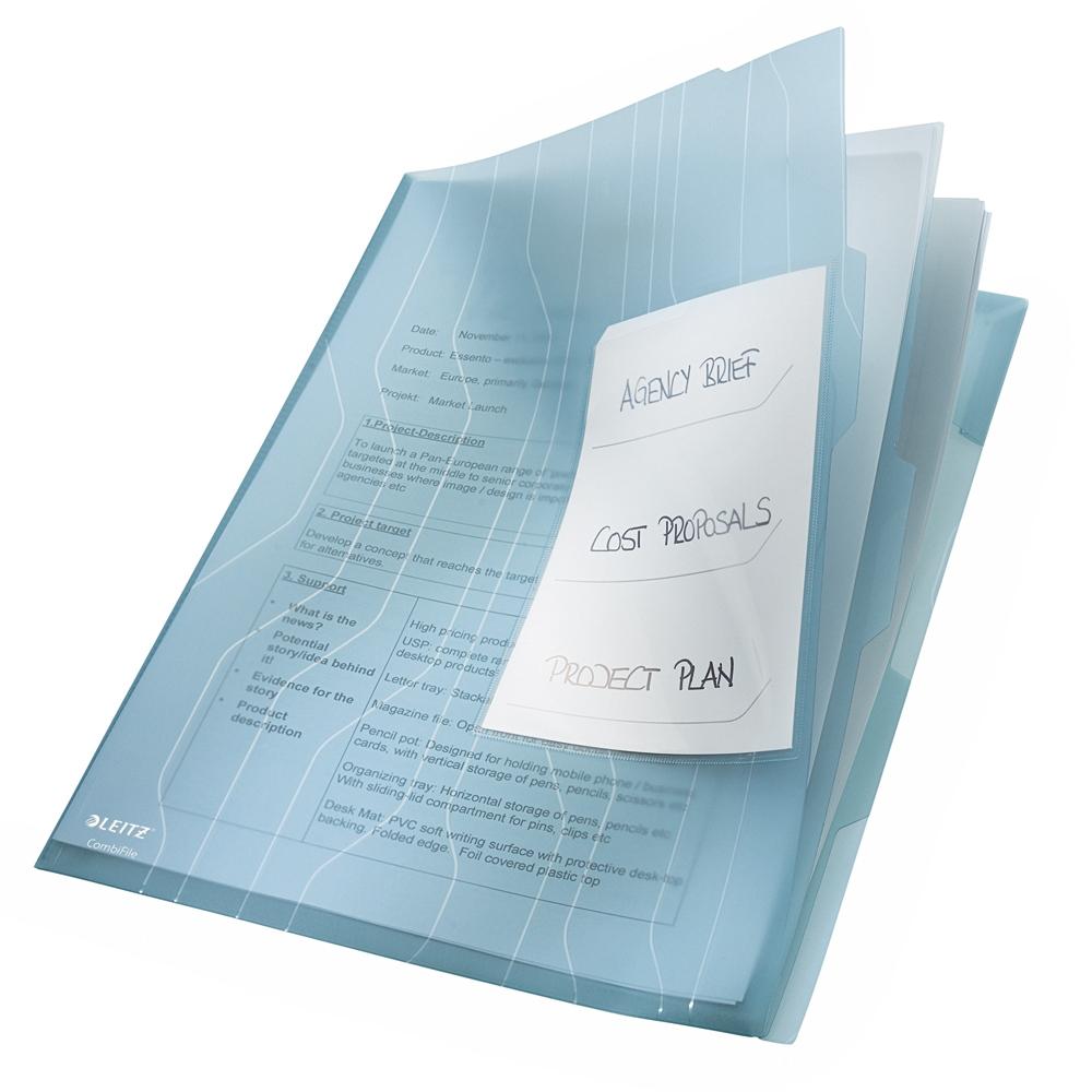Mapa Leitz, CombiFile, separatoare, PP, A4, 200 microni, transparent, 3 bucati/set