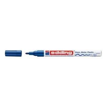 Marker permanent Edding 751 cu vopsea, corp metalic, varf rotund, 1-2 mm, albastru