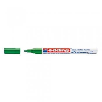 Marker permanent Edding 751 cu vopsea, corp metalic, varf rotund, 1-2 mm, verde