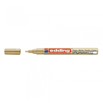 Marker permanent Edding 751 cu vopsea, corp metalic, varf rotund, 1-2 mm, auriu