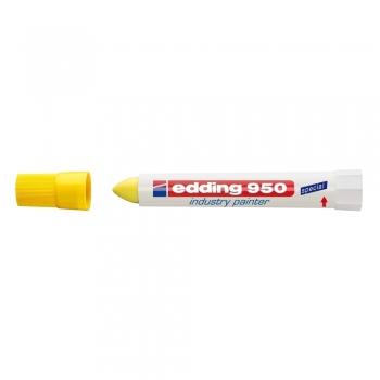 Marker permanent Edding 950 Industrial, corp plastic, varf rotund, 10mm, galben