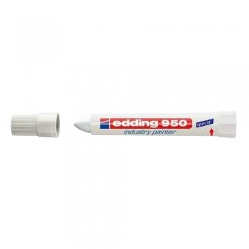 Marker permanent Edding 950 Industrial, corp plastic, varf rotund, 10mm, alb