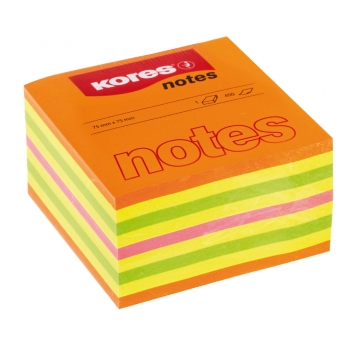Notite adezive, Kores, 75 x 75 mm, multicolor, 450 file