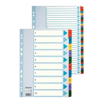 Index IAN-DEC, Esselte, Mylar, carton cu taste laminate, A4, multicolor