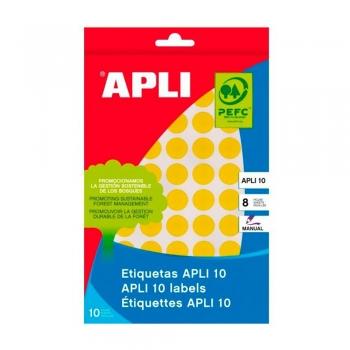 Etichete autoadezive Apli, galben, 19 mm, 320 etichete/blister