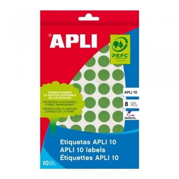 Etichete autoadezive Apli, verde, 19 mm, 320 etichete/blister