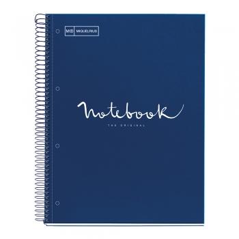 Caiet cu spira, Miquelrius, Emotion, A4, matematica, 80 file, coperta carton dur, albastru