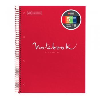 Caiet cu spira, Miquelrius, Emotion, A4, matematica, 120 file, coperta carton dur, rosu