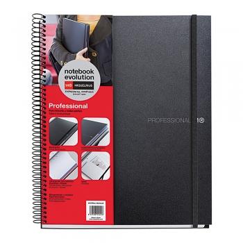 Caiet cu spira, Miquelrius, Evolution, A5, matematica+velin, 120 file, coperta PP, negru