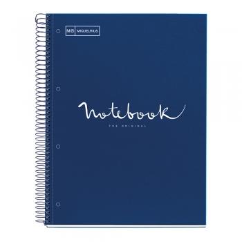 Caiet cu spira, Miquelrius, Emotion, A4, dictando, 80 file, coperta carton dur, albastru
