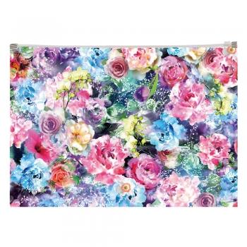 Buzunar plastic, inchidere cu fermoar, A4, design Trandafiri
