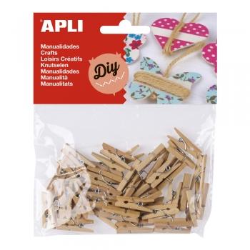 Clipsuri mini APLI, din lemn, 45 bucati/set