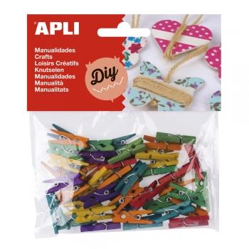 Clipsuri mini APLI, din lemn diverse culori, 45 bucati/set