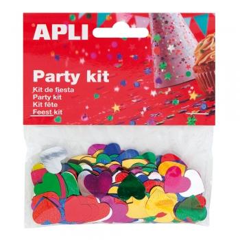 Confeti APLI, in forma de inima, 13 mm, 14 g/set