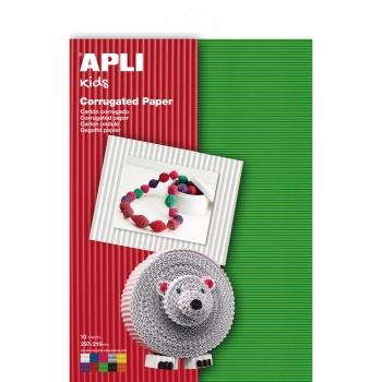Carton ondulat APLI, A4, culori asortate, 10 coli/set
