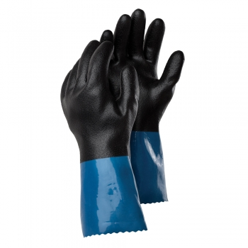 Manusi Tegera 71000, protectie chimica, nitril/PVC, nailon, granulat, negru/albastru,  marime 8, flexibile, durabile