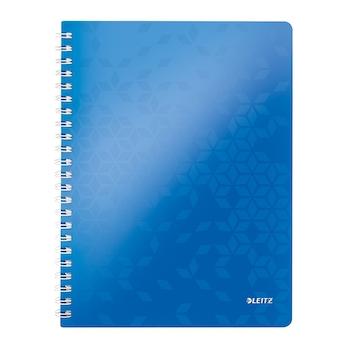 Caiet de birou Leitz WOW, PP, A4, cu spira, matematica, albastru metalizat