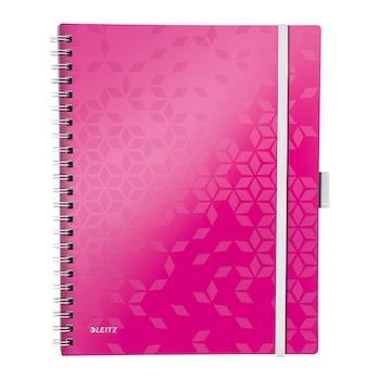 Caiet de birou Leitz WOW Be Mobile, PP, A4, cu spira, matematica, roz metalizat