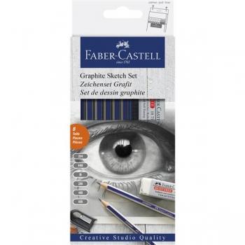 Set 6 Creioane Grafit Goldfaber cu Radiera si Ascutitoare Faber-Castell