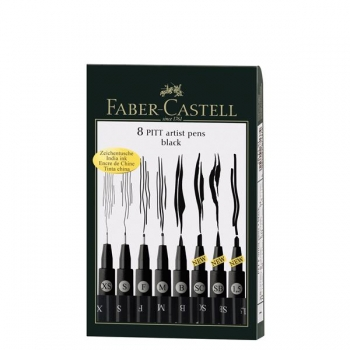 Pitt Artist Pen Set 8 Buc Negru Faber-Castell