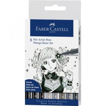 Pitt Artist Pen Manga Set 8 Buc De Baza Faber-Castell