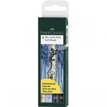 Pitt Artist Pen Soft Brush Set 4 Buc Faber-Castell