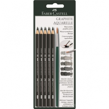 Blister 6 Buc Creion Grafit Aquarelle si Pensula Faber-Castell
