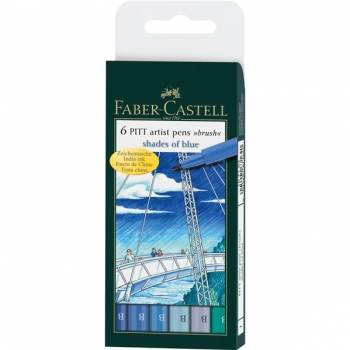 Pitt Artist Pen Set 6 Buc Albastru Faber-Castell