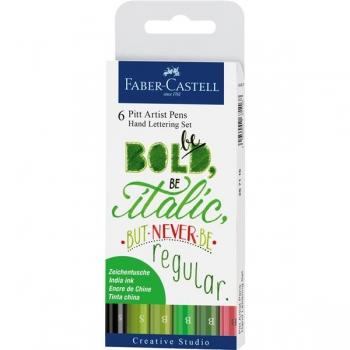 Pitt Artist Pen Set Caligrafic 6 Buc Verde Faber-Castell