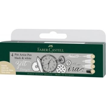 Pitt Artist Pen Soft Brush Set 4 Buc Alb si Negru Faber-Castell