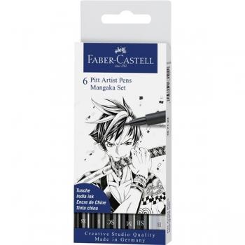 Pitt Artist Pen Manga Set 6 Negru Faber-Castell