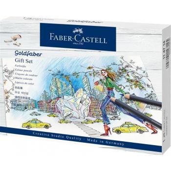 Set Cadou 12 Creioane Colorate Goldfaber si Accesorii Faber-Castell