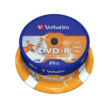 DVD-R printabil Verbatim, 16x, 4.7 GB, 25 bucati/cake