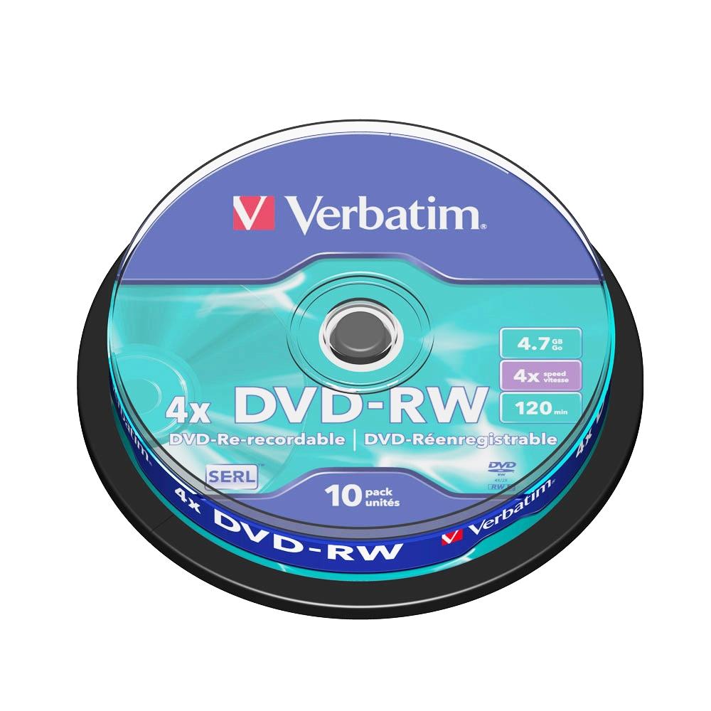 DVD-RW Verbatim, 4x, 4.7 GB, 10 bucati/spindle