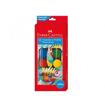 Acuarele 12 culori Pensula Faber-Castell