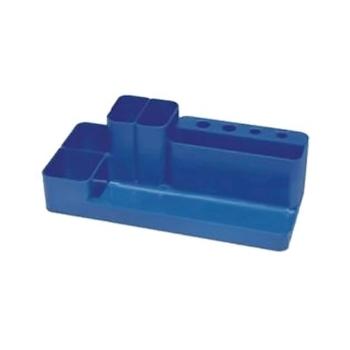 Suport accesorii de birou Flaro, plastic, albastru