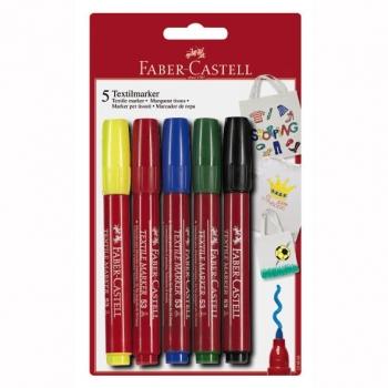 Marker Pentru Textile 5 Culori Faber-Castell