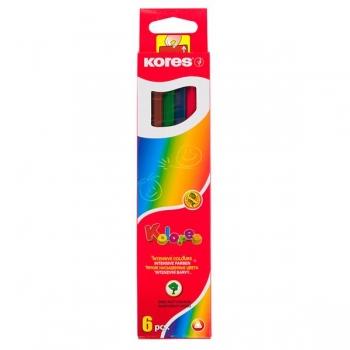 Creioane Colorate 6 Culori Triunghiulare Kores