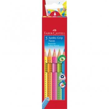 Creioane Colorate 5 Culori Neon Jumbo Grip Faber-Castell