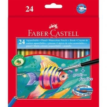 Creioane Colorate Acuarela 24 Buc si Pensula Faber-Castell