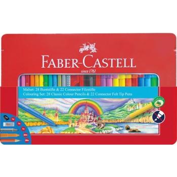 Set Cadou Carioci Connector si Creioane Colorate 53 Buc Faber-Castell