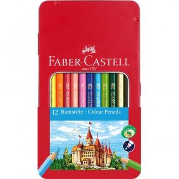 Creioane Colorate 12 Culori Cutie Metal Faber-Castell